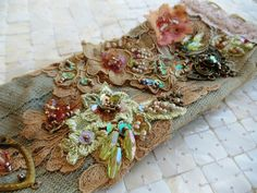 Hand beaded vintage lace, hand sewn, with brass findings, crystals, vintage swarovski crystals, sequins, seed beads...