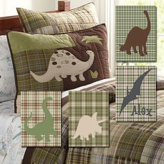 Custom Personalized Name Plaid Dinosaur Boy Artwork Set of 4 Prints Wall Baby Decor Art Crib Nursery Picture Nature Pottery Barn