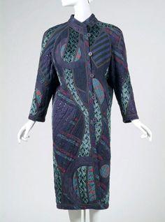 1985, America - Coat by Koos van den Akker - Appliquéd navy blue wool, printed rayon pile, navy blue leather and other fabrics; black vinyl