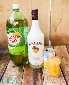 Coconut Malibu rum, pineapple juice, ginger ale, and grenadine syrup will make you think you're on a tropical island with this cocktail recipe.