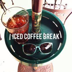 Take an iced coffee break with upshelf #coffee #sunny #outdoor www.upshelf.com