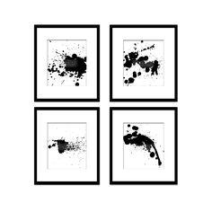 Paint Splatter Art 5, Black And White Art, Digital Black And White Art Prints, Abstract Art, Contemporary Art, Printable Art, Home Decor