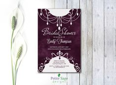 Bridal Shower Party Custom Invitation, Printable Wedding Shower Plum Invitation, Elegant Bold And Modern Dark Colors Personalized Invitation