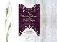 Bridal Shower Party Custom Invitation, Printable Wedding Shower Plum Invitation, Elegant Bold And Modern Dark Colors Personalized Invitation
