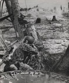 Marine Shoots on a Japanese Pill Box Tarawa November 1943 | Flickr - USMC Archives