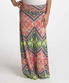 Love this PinkBlush Yellow Geo Maternity Maxi Skirt on #zulily! #zulilyfinds