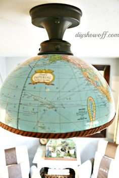 Make a light fixture out of an old globe.  You could use this in a little boys room or a library.