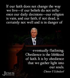 obedience = lifeblood of faith.