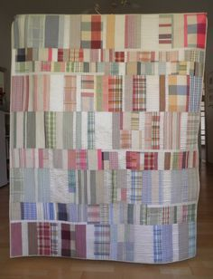 Pasqualina Barazza: Silk Road - Seidenstrasse - Via della seta // 10 Plaid Quilt, Striped Quilt, Plaid Fabric, Recycled Shirts, Recycled Clothing, Low Volume Quilt, Contemporary Quilts, Quilt Modern, Man Quilt