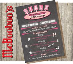 Chalkboard Girls Weekend Getaway Invitation Itinerary. Love these for the Las Vegas party!