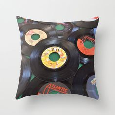 Pillow Cover 16 Square with a Photo of 45s Records. by JDLord, $29.99