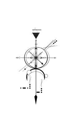 Tattoo geometrische Kreation Sebastian Charles - Tattoos and Piercings - Geometric Compass, Geometric Arrow, Geometric Tattoo Design, Geometric Designs, Rune Tattoo, Glyph Tattoo, Compass Tattoo, Body Art Tattoos, Small Tattoos