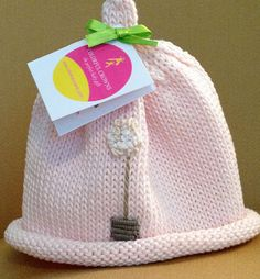 23d3466570d Items similar to Little Topiary Knitted Newborn Baby Hat with Floral  Embroidery (Pink