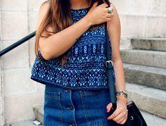 LITTLE BLACK COCONUT: Ethnic top, denim skirt and roman sandals