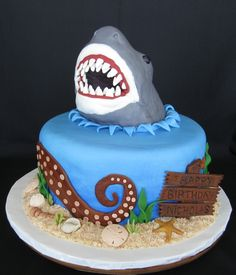 For a 6-yr-old's birthday.  His Dad said he wanted a cake with a shark on it.  I got carried away.  The shark head is RKT - first time ...