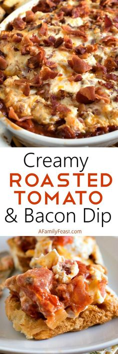 Creamy Roasted Tomato Bacon Dip - A Family Feast - Roasted tomatoes topped with a creamy bacon and cream cheese topping - plus more bacon on top! Yummy Appetizers, Appetizer Recipes, Party Appetizers, Appetizer Dips, Dip Recipes, Cooking Recipes, Bacon Recipes, Recipies, Easy Recipes