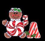 Alfabeto animado de golosinas navideñas.