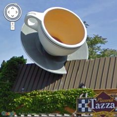 This giant coffee cup with saucer adorns the roof of Tazza Pizzeria, Milwaukee, Wisconsin. The town landmark originally belonged to the Milwaukee Coffee Company.