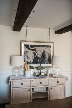 "How to Style a Buffet Table - Lynzy & Co. // Our Farmhouse decor featuring this amazing ""space cow"" print!"