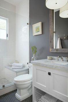 nice Small grey & white bathroom... by http://www.cool-homedecorations.xyz/bathroom-designs/small-grey-white-bathroom/