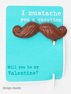 Free printables and how-to for these cute mustache valentines.