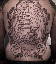 Traditional back piece by Lou Shaw, lots more still to go. Thanks for looking