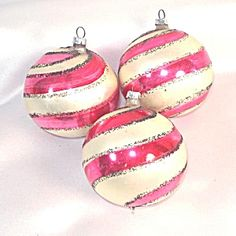 Spiral Candy Cane Stripes 1960s Glass Christmas Ornaments