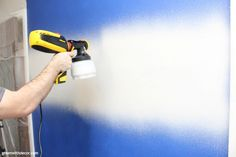 Wondering how to use a paint sprayer to paint walls? Use a FLEXIO paint sprayer to paint interior walls even faster! This is so smart, and that pre-taped masking film stops paint from getting everywhere - genius! Ombre Painted Walls, Paint Walls, Room Paint, Interior Paint Sprayer, Paint Rollers With Designs, Using A Paint Sprayer, Spray Painting, Painting Tips, Diy House Projects