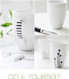 IKEA mugs + porcelain paint pen