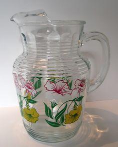Hazel Atlas Deco Pitcher Vintage Clear Glass with Petunia Graphics 1930's