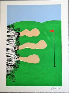 ARMAN, Lancome Golf trophy Award, 1998, Lithographie originale signée, TBE