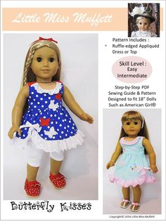 """Butterfly Kisses 18"""" Doll Clothes Pattern"""