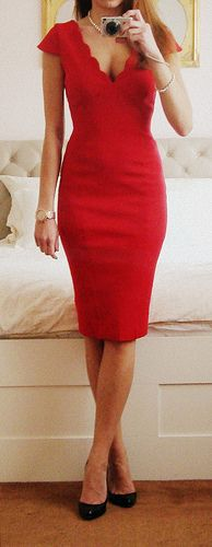 """""""Red Scallop Neck Ponti Dress"""" by Jane Norman"""