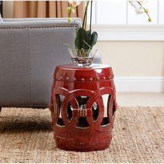 ABBYSON LIVING Moroccan Antique Red Ceramic Garden Stool