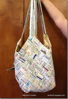 """Mondo Bag done in selvages....Sew selvages together in strips and cut the strips into 2.5"""" squares to make the body of the bag."""