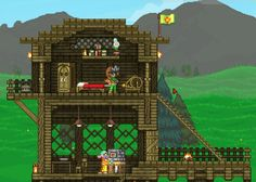 Starbound basic house with copper lighting and wood accents #Starbound #PCgaming