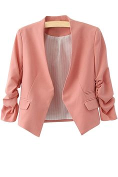 3/4 Sleeves Solid Pink Blazer: http://www.zaful.com/3-4-sleeves-solid-color-blazer-p_19980.html?lkid=180