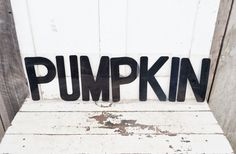 """Vintage Pumpkin Marquee Letters Word Sign 9"""" Plastic Black Clear Acrylic Wall Window Spelling Halloween Fall Party Decoration by RelicsAndRhinestones on Etsy"""