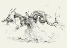 Dragon gris. Crayon