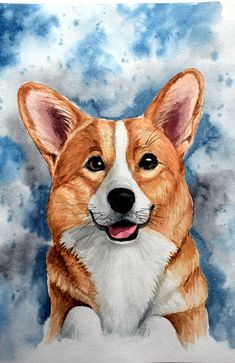 Custom Dog Сorgi Portrait, Corgi sympathy gift,Pet painting to order, Corgi dra… Custom Dog Portraits, Pet Portraits, Animal Paintings, Animal Drawings, Corgi Breeds, Corgi Drawing, Animals Beautiful, Cute Animals, Welsh Corgi Puppies