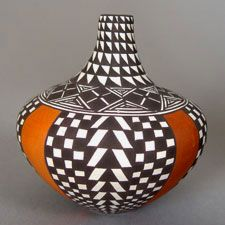 Sandra  M. Victorino (Acoma Pueblo)  Sandra  is one of today's most highly collected potters along with her aunt and teacher, the famous Dorothy Torivio. She has won awards at the Santa Fe Indian Market.