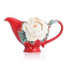 "Franz Porcelain Collection ""Venice"" Peony Design Sculptured Porcelain Creamer"