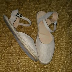 SUGAR brand shoe Tan canvass shoe with rope platform; buckles; GREAT CONDITION; WORN ONCE SIZE IS 10; HOWEVER, I AM A TRUE SIZE 9 & THESE FIT ME PERFECTLY, JUST TOO FLAT FOR MY PREFERENCE Shoes Platforms
