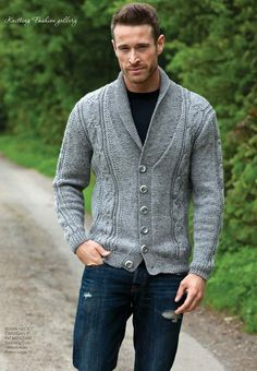 Men Wool cardigan with shawl neck and buttons, Exclusive knitwear, Aran cardigan, Hand Knitted cardigan, Cable knit cardigan - Knitting Ideas Mens Shawl Collar Cardigan, Cable Knit Cardigan, Knit Jacket, Sweater Cardigan, Men Sweater, Mens Fashion Suits, Pullover, Couture, Knitting Designs