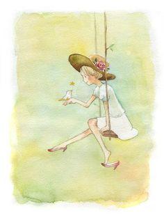 sweet girl on a swing