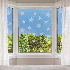 Frosted Stars Window Stickers  Stars Privacy Glass Stickers image 1 Window Stickers Privacy, Window Decals, Vinyl Wall Stickers, Wall Decals, Wall Art, Net Curtains, Curtains With Blinds, Paint Types, Book Corners