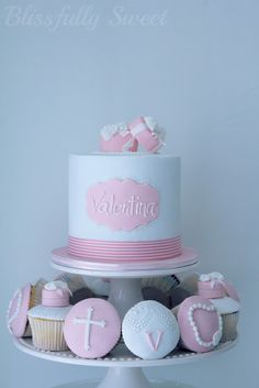 Blissfully Sweet: Christening Cake my mom should make this for my dad Torta Baby Shower, Baking Cupcakes, Cupcake Cakes, Christening Cake Girls, Christening Cakes, Comunion Cakes, Bible Cake, Confirmation Cakes, White Cupcakes