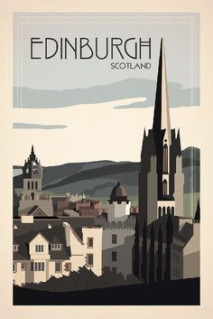 Edinburgh, Scotland Travel Poster inspired by vintage travel prints from century golden age of poster design. Best place in the world! Old Poster, Retro Poster, Art Deco Posters, Poster Prints, City Poster, Photo Vintage, Vintage Style, Railway Posters, Kunst Poster