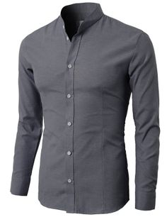 Men's Mandarin Collar Oxford Cotton Button Down Shirt ( KMTSTL033) #doublju