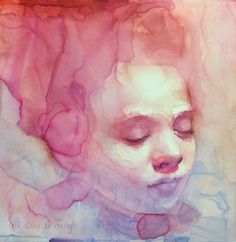 Watercolor by Ali Cavanaugh Watercolor Portrait Painting, Watercolor Face, Portrait Art, Painting & Drawing, Gcse Art Sketchbook, Expressive Art, Human Art, Gravure, Figure Painting